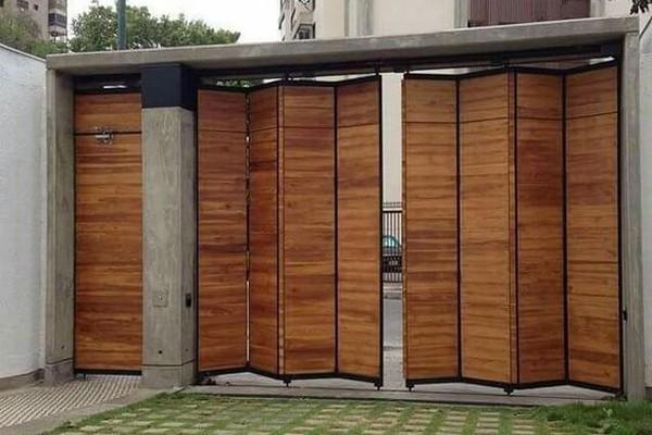 mẫu cửa cổng biệt thự làm bằng gỗ